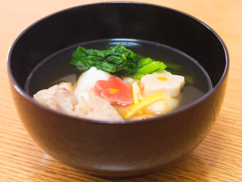 Soup with mochi in it