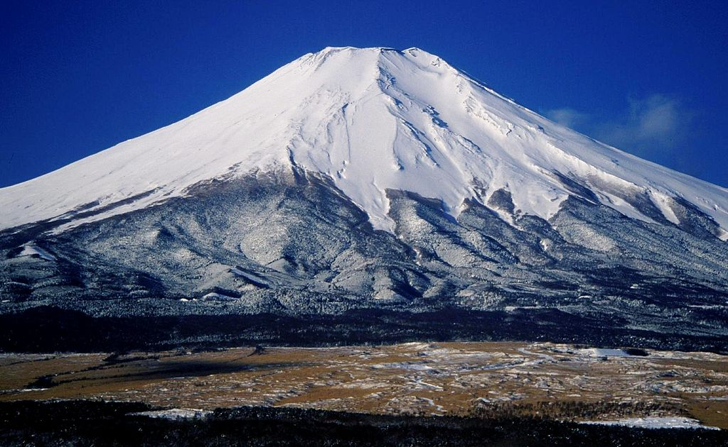 Snow-covered Mount Fuji