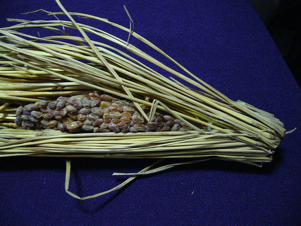 Natto wrapped in straw