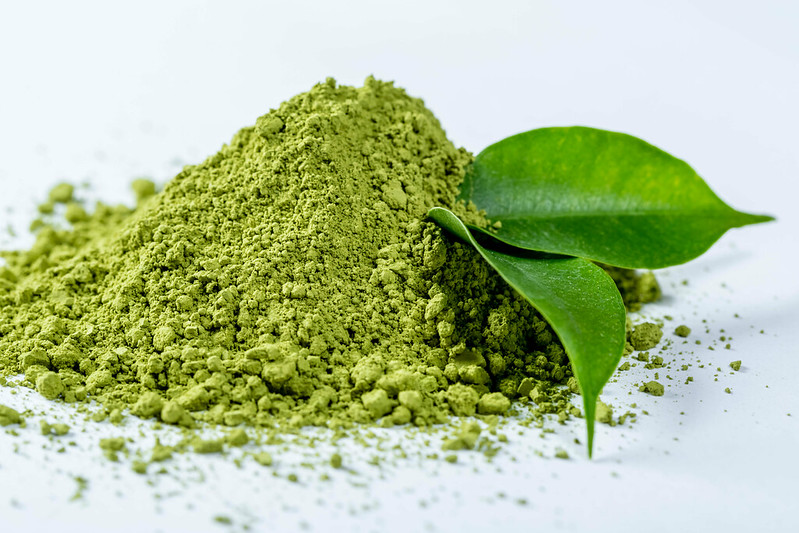 Vibrant green color of matcha powder