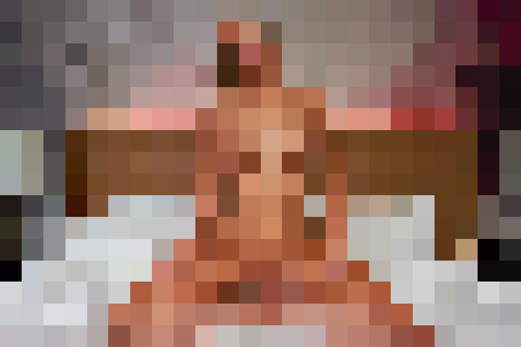 Adult content is censored using 8-bit pixelation