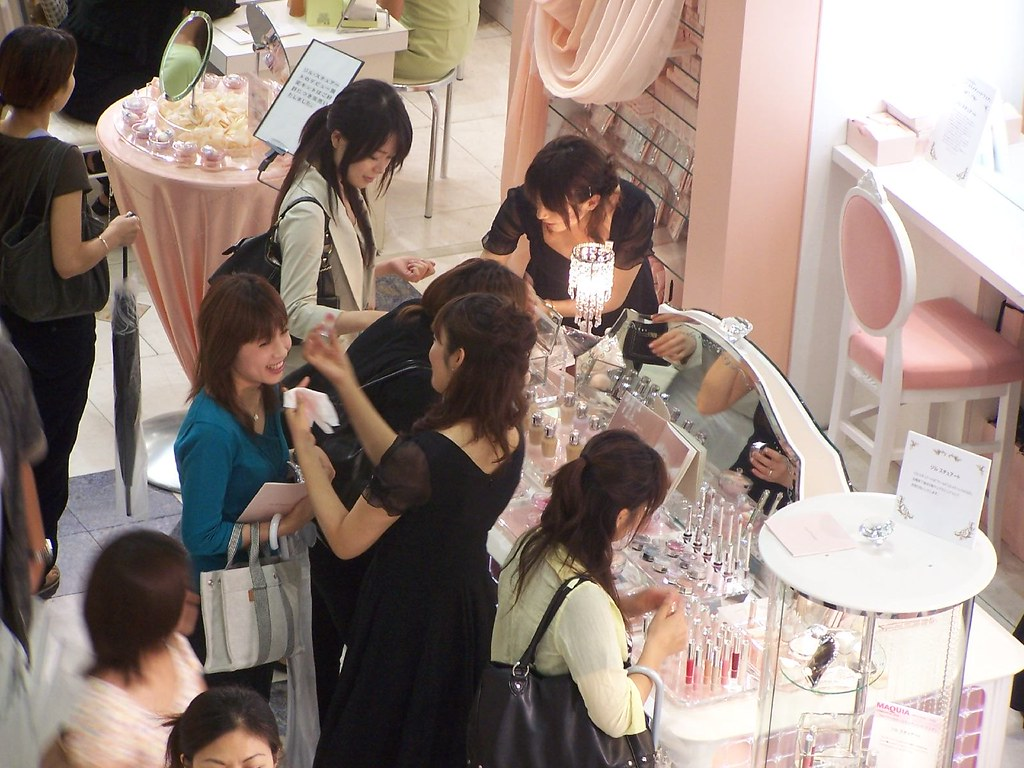 Buyers at a cosmetic store in Japan