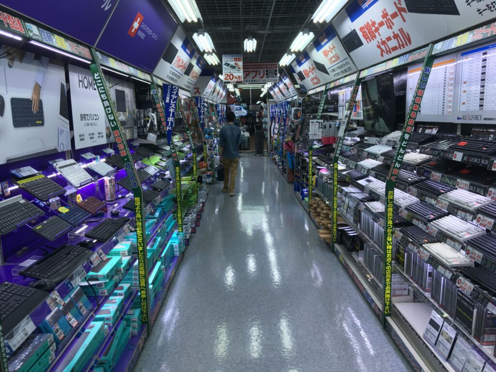 Peripherals in a Japanese electronic store