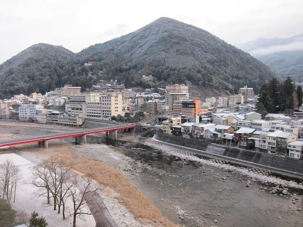 Open-air onsen near Gero Bridge