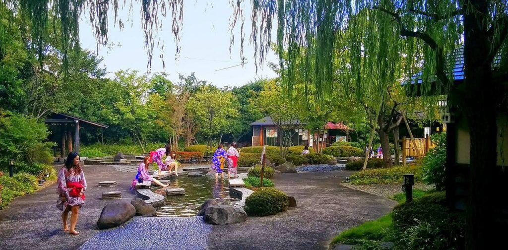 Oedo Onsen Monogatari outdoor foot bath